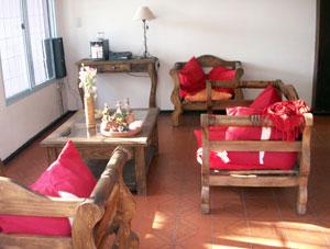Hostel Lao indoor lounge area.