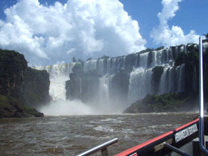 A picture of Iguazu Falls before we dive into them with our boat.