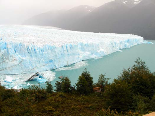 El Perito Moreno glacier seen from the viewing balconies.