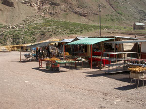 The little market at the Puente del Inca in Argentina