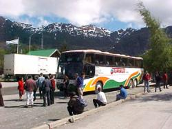 An Argentina bus on a break in the mountains.