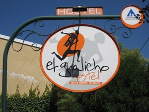 The El Gualicho Hostel sign, culprit of the story.