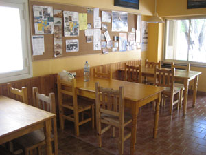 The eating area at the hostel.