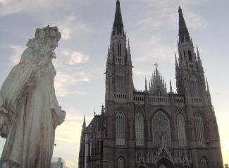 La Plata Cathedral, neo-gothic and eerie.