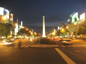The Buenos Aires obelisk at night.