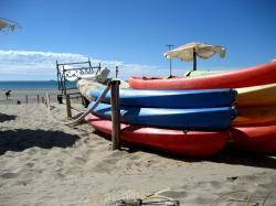 Kayaks on the beach at Puerto Madryn