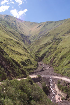 Road and gorge in Salta's upcountry.