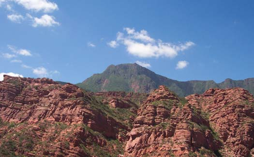 The deep red of the mountain rock in Salta.