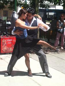 Tango dancers on the street in San Telmo.