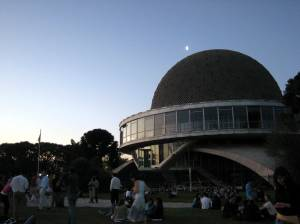Half Moon Rises Above the Planetarium